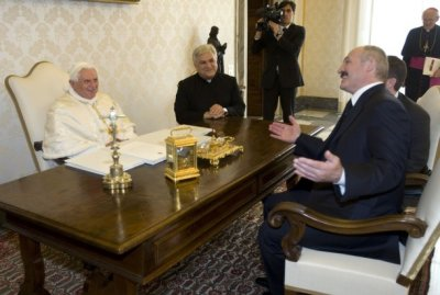 Lukashenko's son gave the Pope a primer book