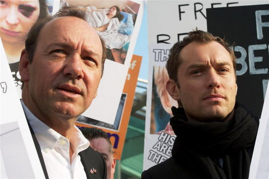 Jude Law and Kevin Spacey march against Europe's last dictator
