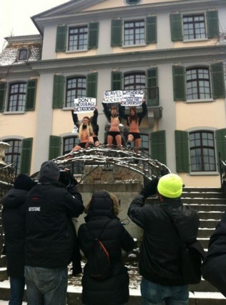 FEMEN girls stripped against the 2014 Ice Hockey World Championship in Belarus - photo