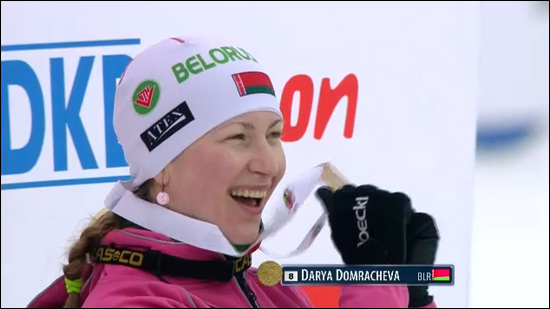Biathlon star Darya Domrach�va wins world title
