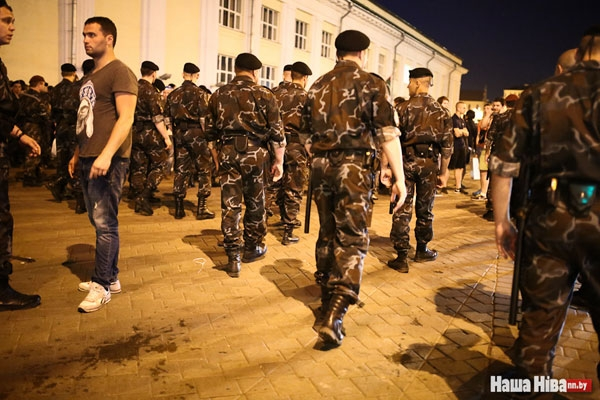 Riot police clean up hospitability area near Palace of Sport