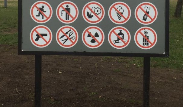 This tourist sign from Belarus may be the most prohibitive sign in the world